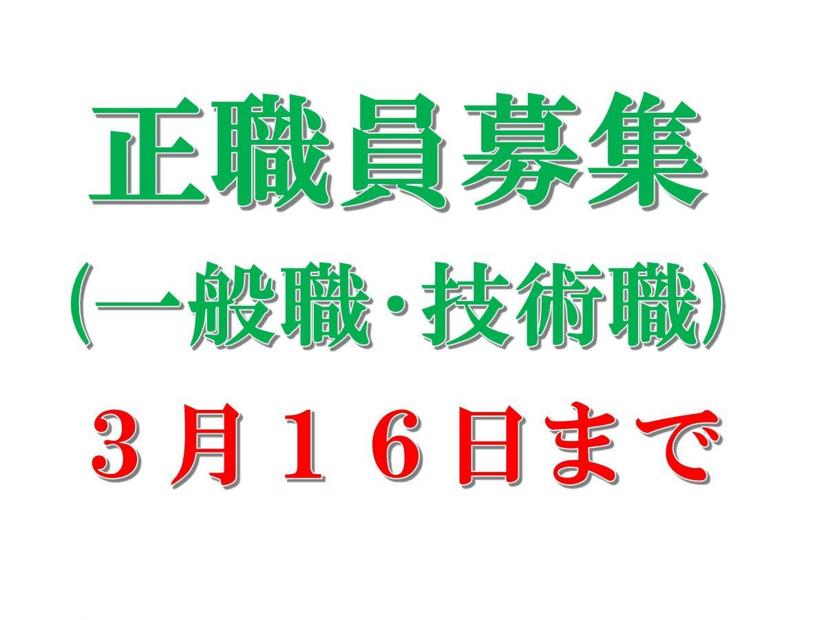 7/1採用 正職員(一般職・技術職)を募集(3/16まで)